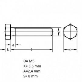 Болт M5 L - 25 мм