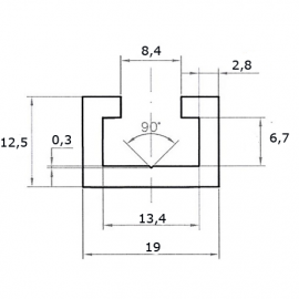 T-track профиль (12,5х19) 1000мм